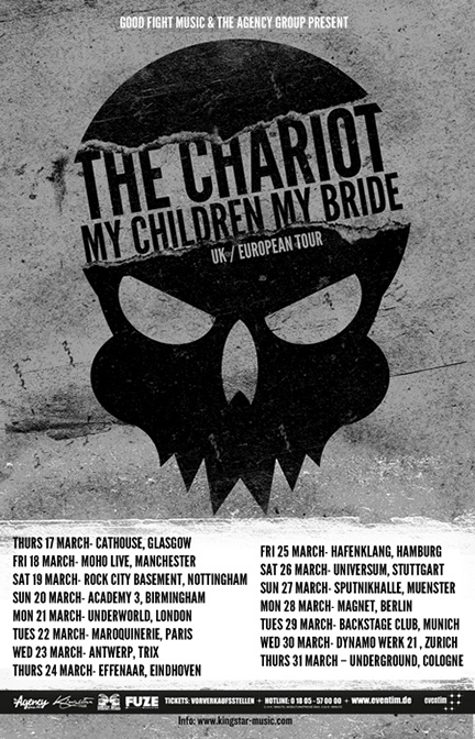 2011 UK/EU LISTENER LONG LIVE THE CHARIOT TOUR WITH THE CHARIOT  Mar 21 - London, England (The Underworld) Mar 22 - Paris, France (La Maroquinerie) Mar 23 - Antwerp, Belgium (Muziekcentrum Trix) Mar 24 - Eindhoven, Netherlands (De Effenaar) Mar 25 - Hamburg, Germany (Molotov) Mar 26 - Stuttgart, Germany (Universum) Mar 27 - Munster, Germany (Sputnikhalle) Mar 28 - Berlin, Germany (Magnet) Mar 29 - Munchen, Germany (Backstage Club) Mar 30 - Zurich, Switzerland (Dynamo Werk 21) Mar 31 - Cologne, Germany (Cologne Underground)