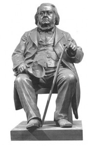 Gipsstatuett av Asbjørnsen laget av Brynjulf Bergslien i 1885.