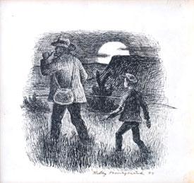 """""""Huff, det grøsser i mig,"""" ropte min ledsager. Tegning til Kvernsagn av Ridley Borchgrevink, 1934."""