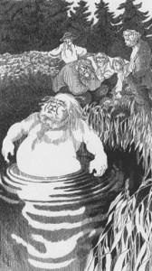 """""""Åssen denna Asbjørnsen såg ut?"""" Tegning av Ellen Auensen."""