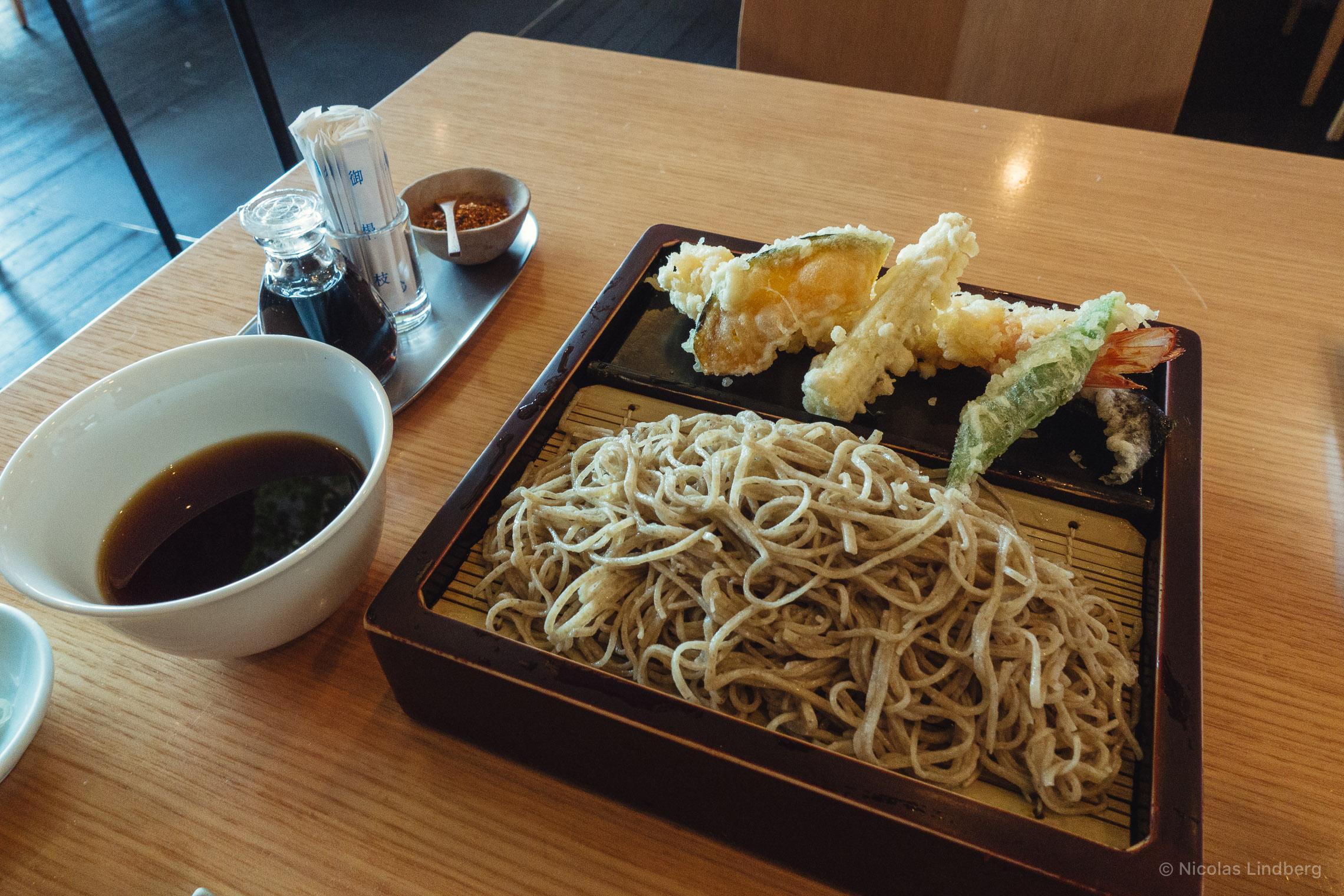 Ten Zaru Soba: Cold soba, Tempura (pumpkin, mini corn, green bean, scampi) and Tsuyu sauce