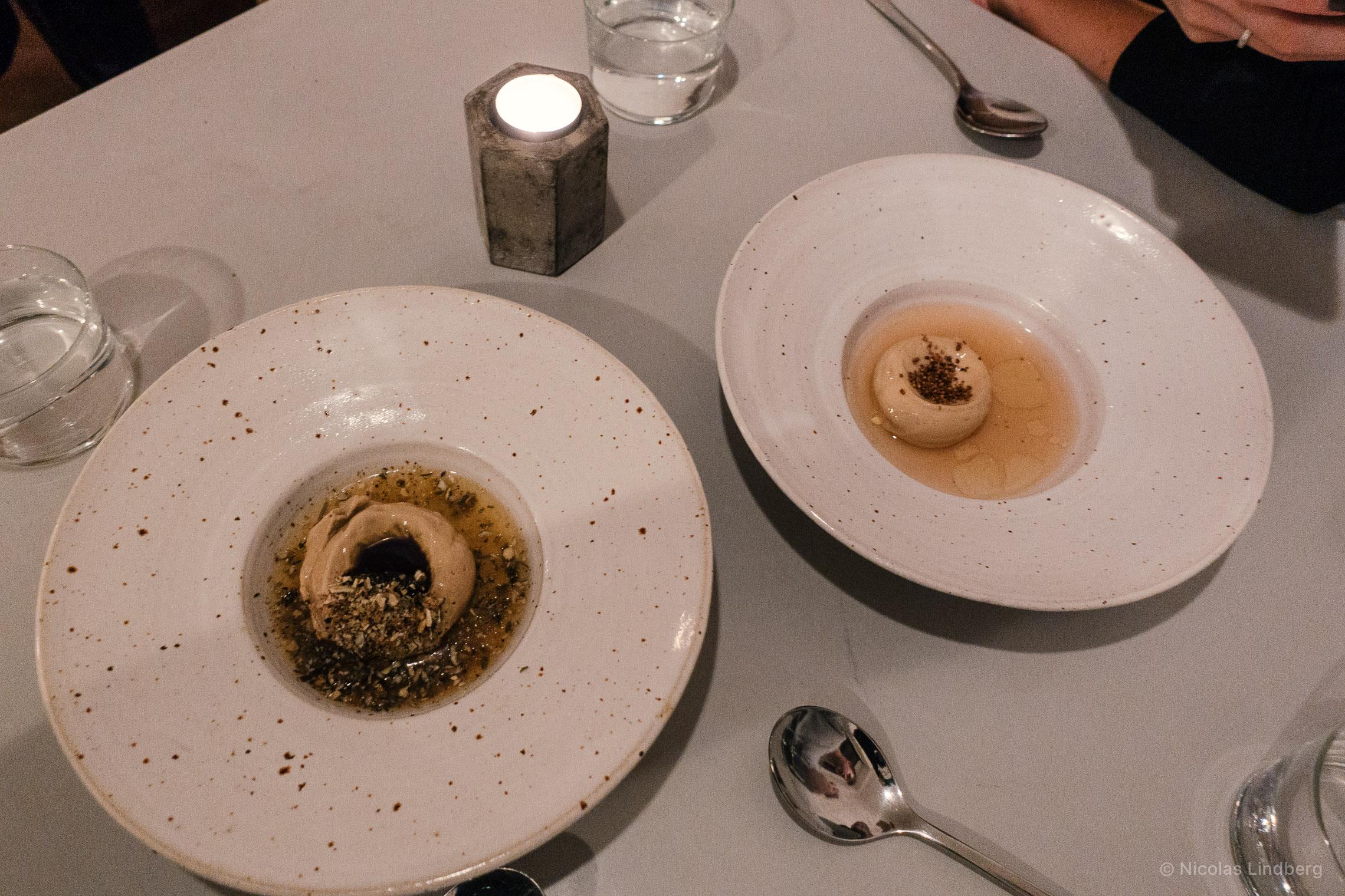 Left: Sourdough Bread Ice Cream 11€   Pumpkin Seed & Tamarind Brittle   Right: Buckwheat Amazake Ice Cream 12€   Sobcha' Tea. Mandarin Oil