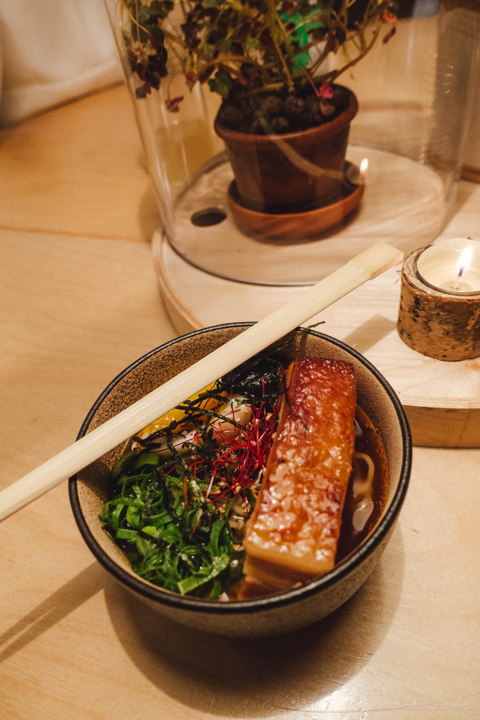 Ramen, broth, sesame, nori, soy, scallions, egg and pork belly