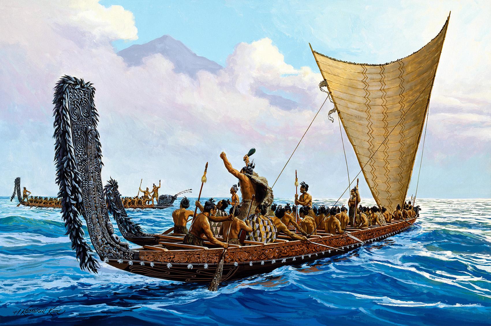 Herb Kane_War Canoes of the New Zealand Maori - 10 Inch ORIGINAL_WEB.jpg