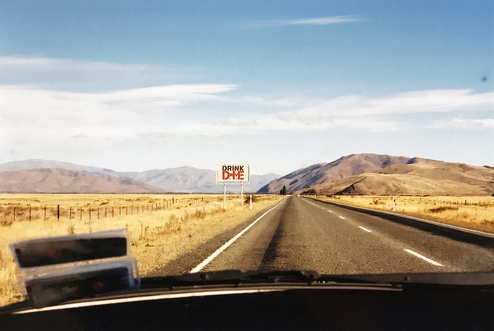 A reminder road-sign, South Island, New Zealand 2003 © Tanya Clarke