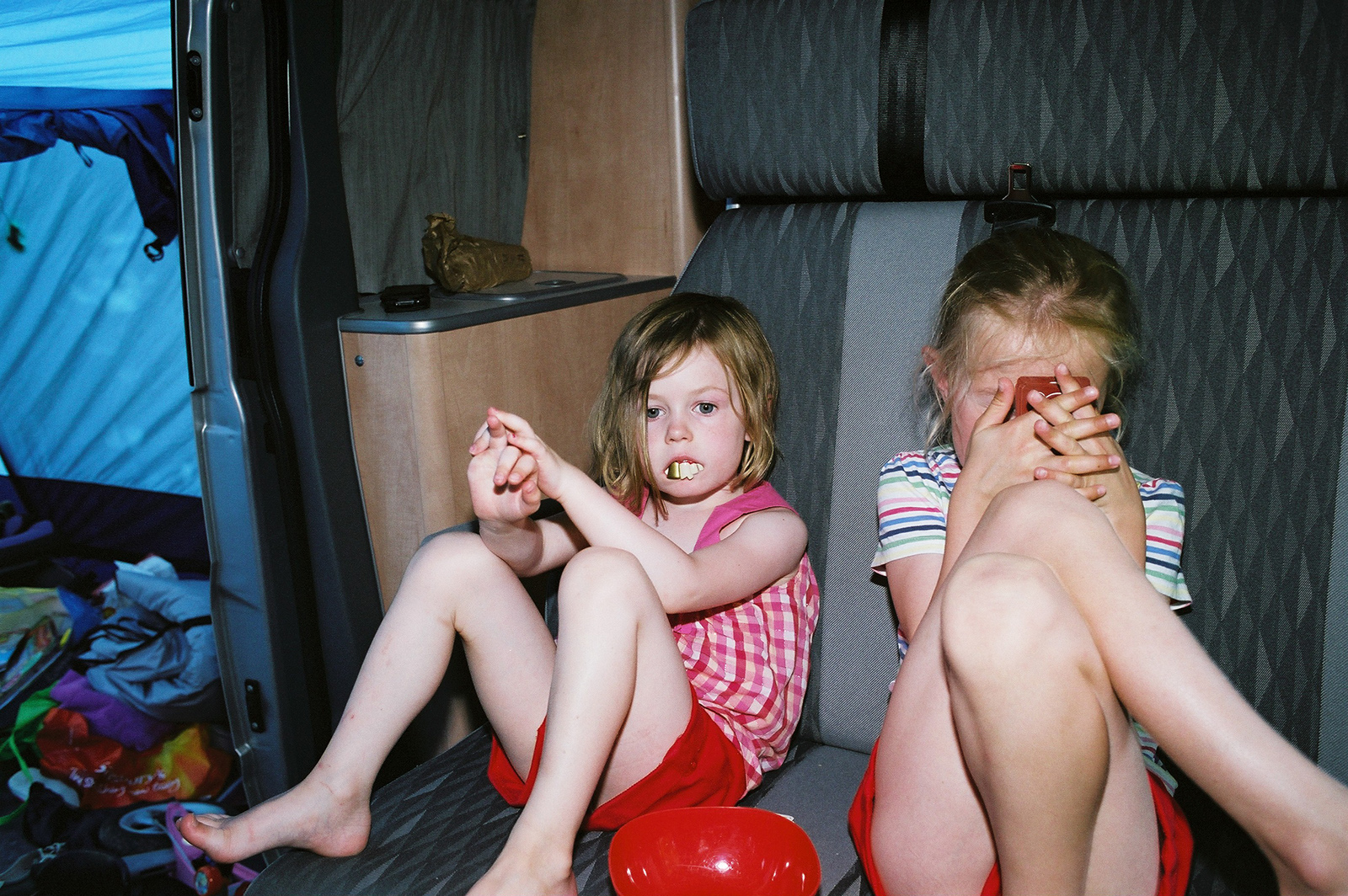 My daughters in our camper van somewhere in France 2011 © Tanya Clarke