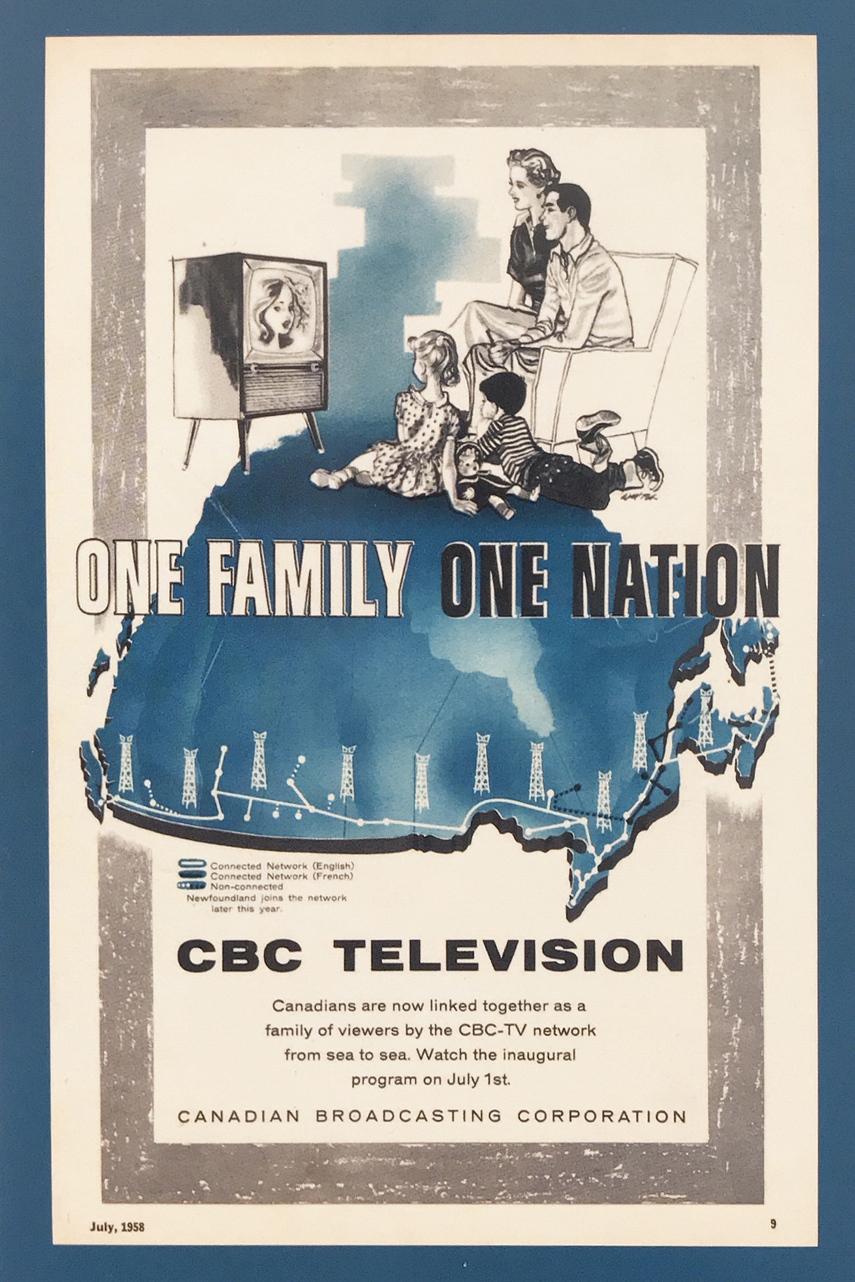 CBC Television -One Family One Nation advertisement 1958 - postcard