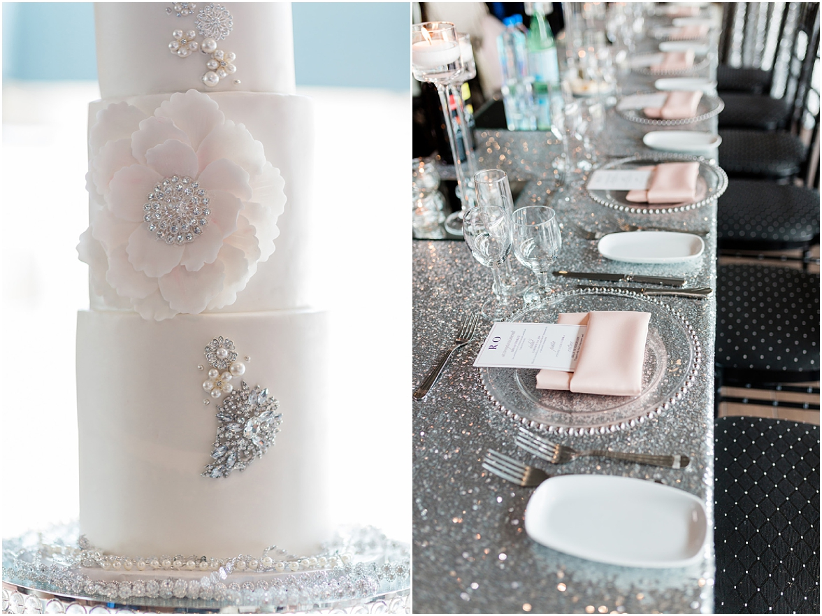 silver and bling cake and reception design