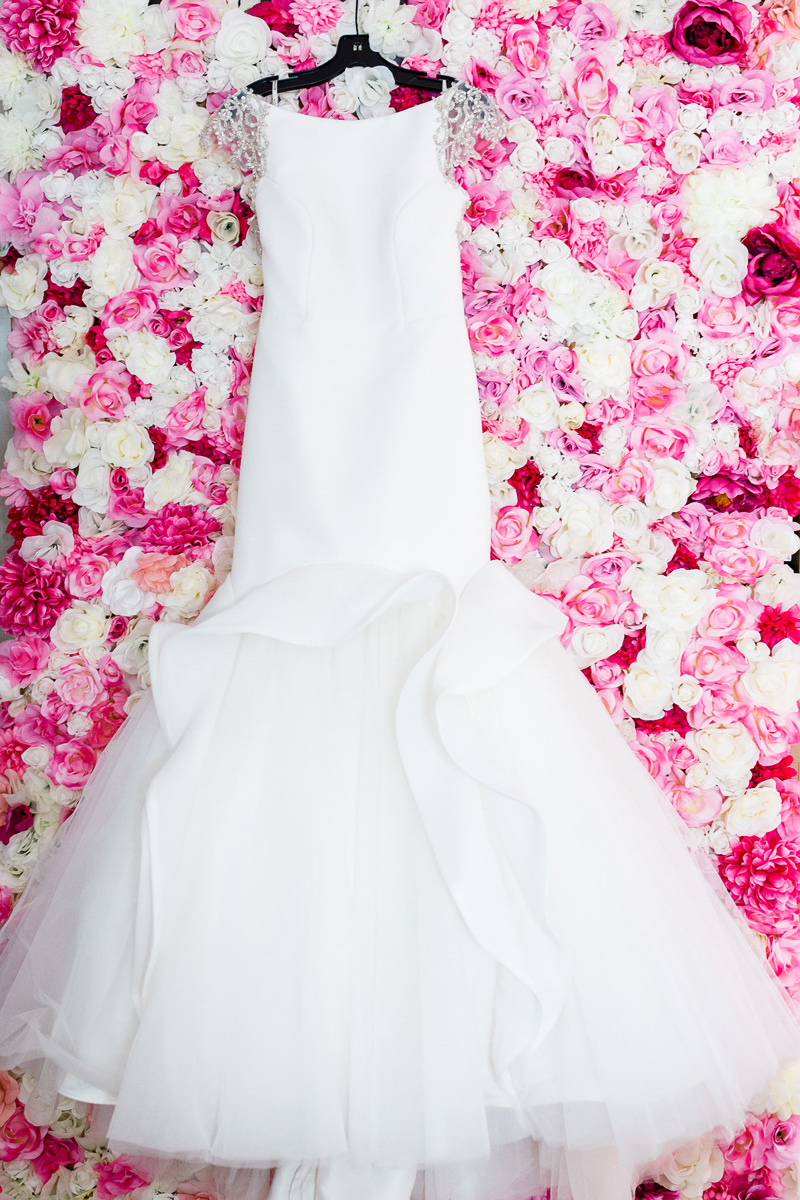 Dress with floral background