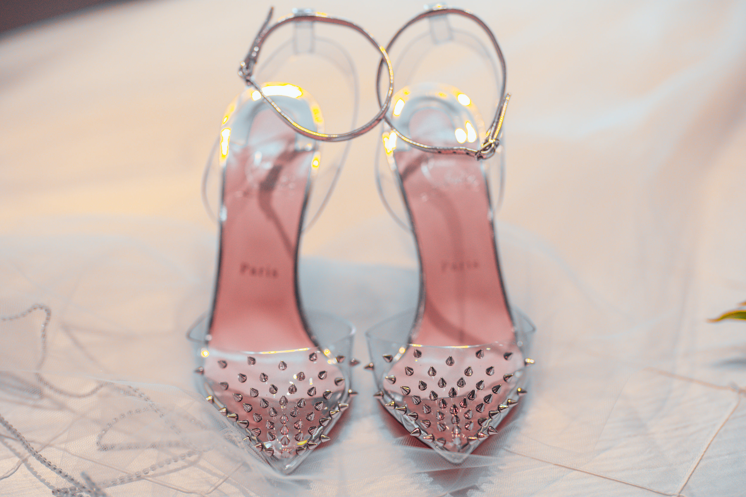 wedding shoes clear with crystals