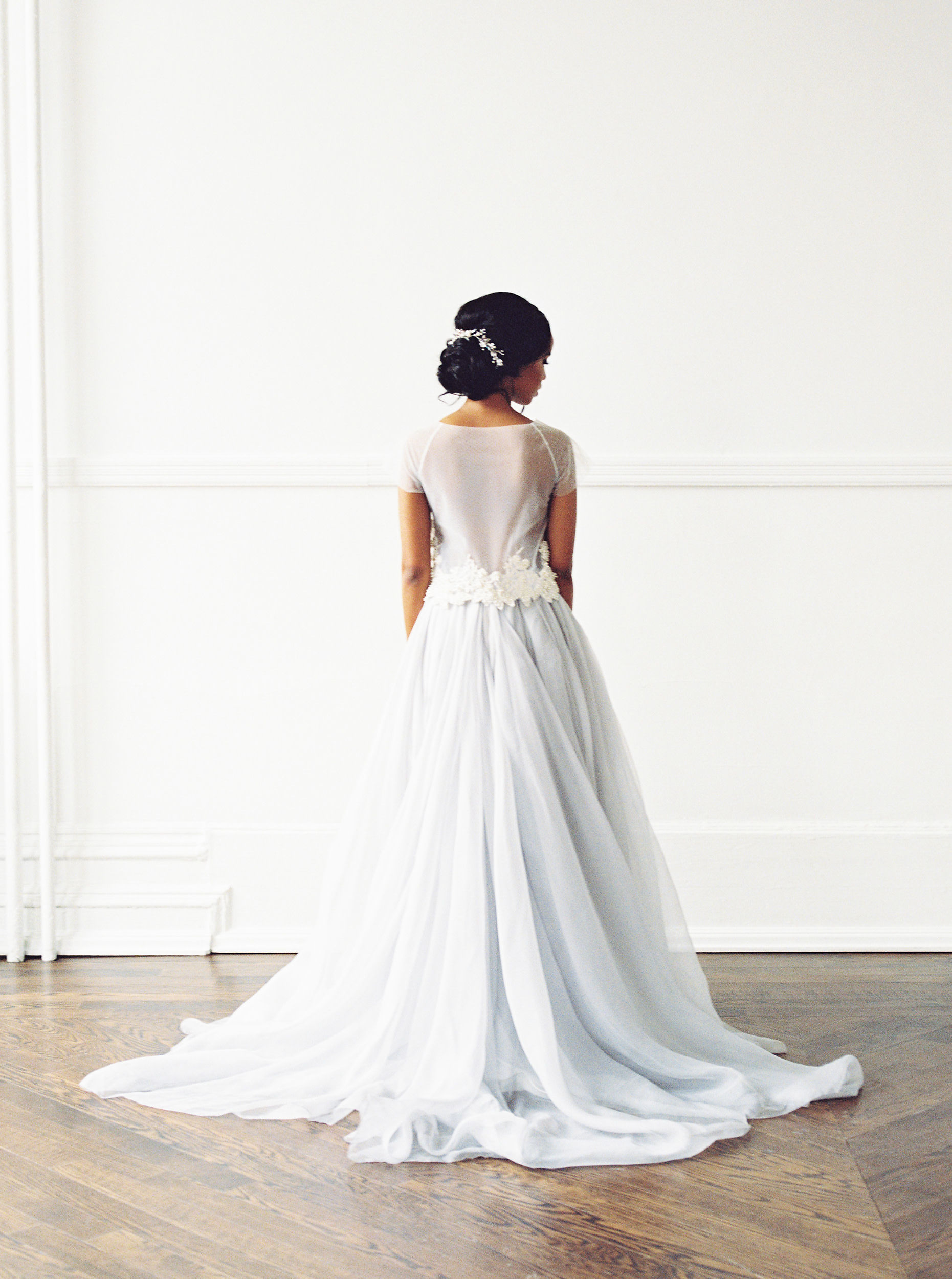beautiful back of powder blue tulle gown