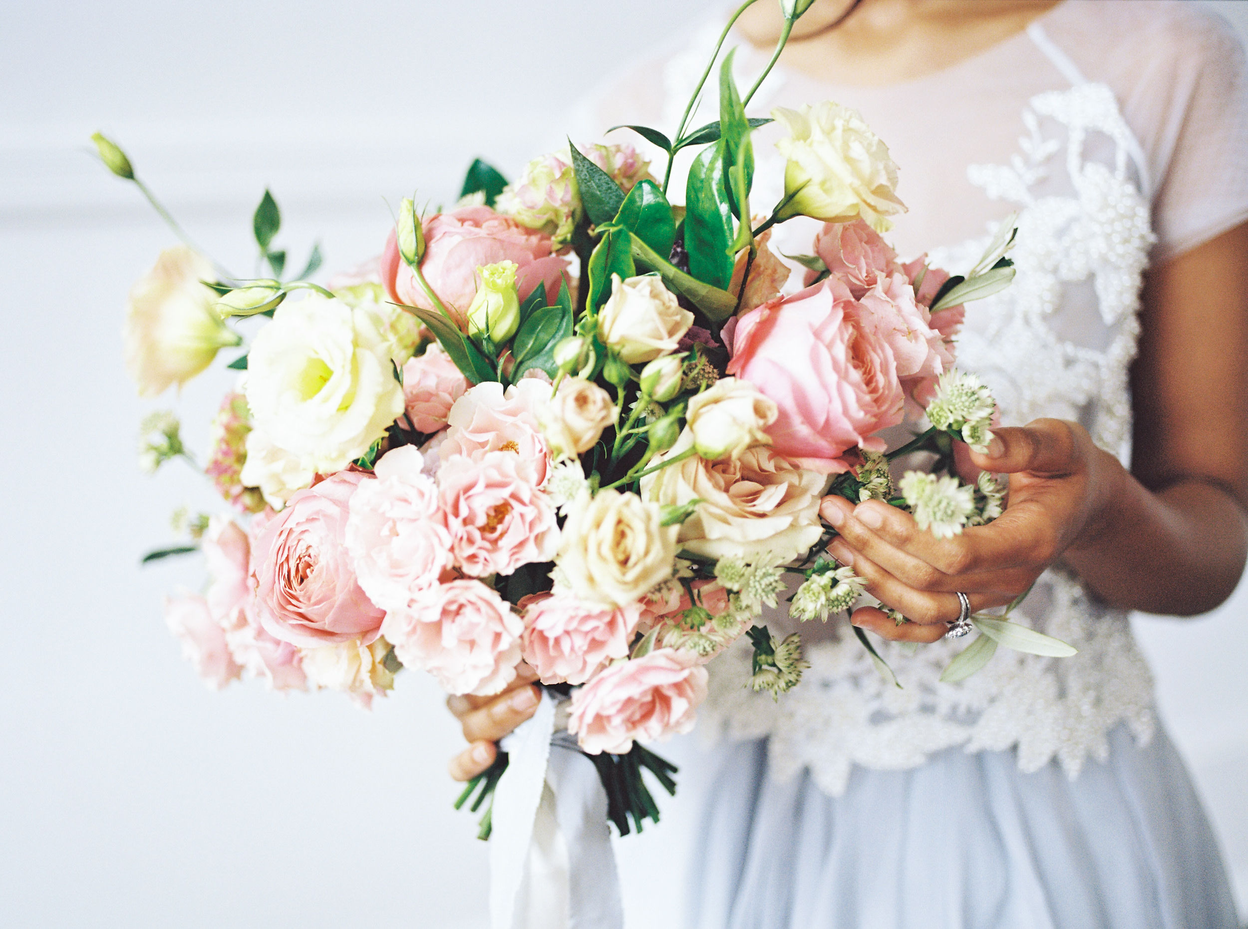 blush and yellow bouquet