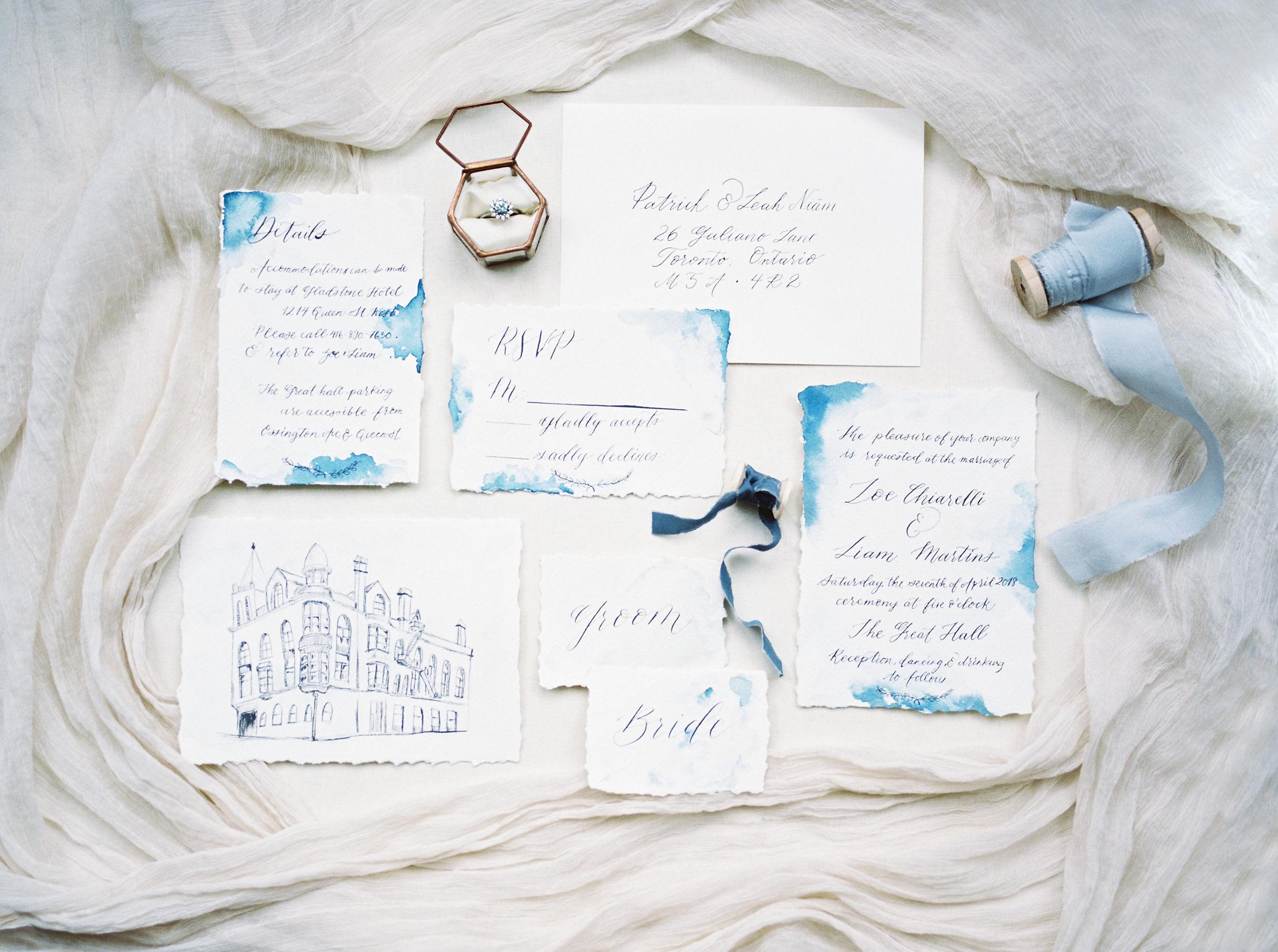 blue wedding invitations watercolor