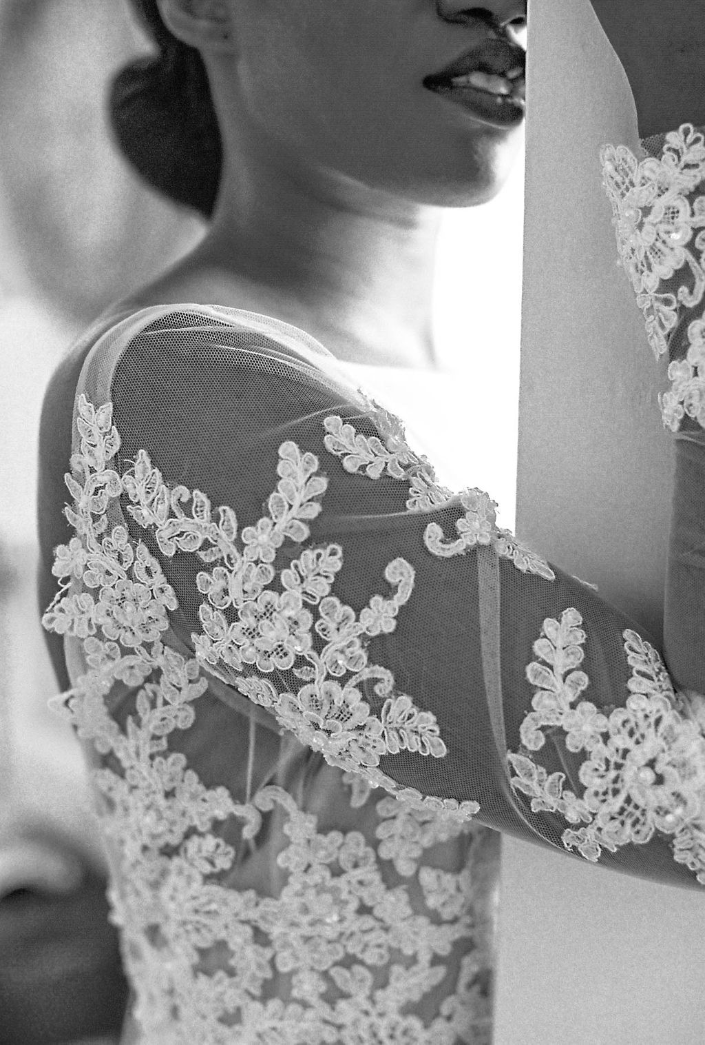 black bride lace detail on dress