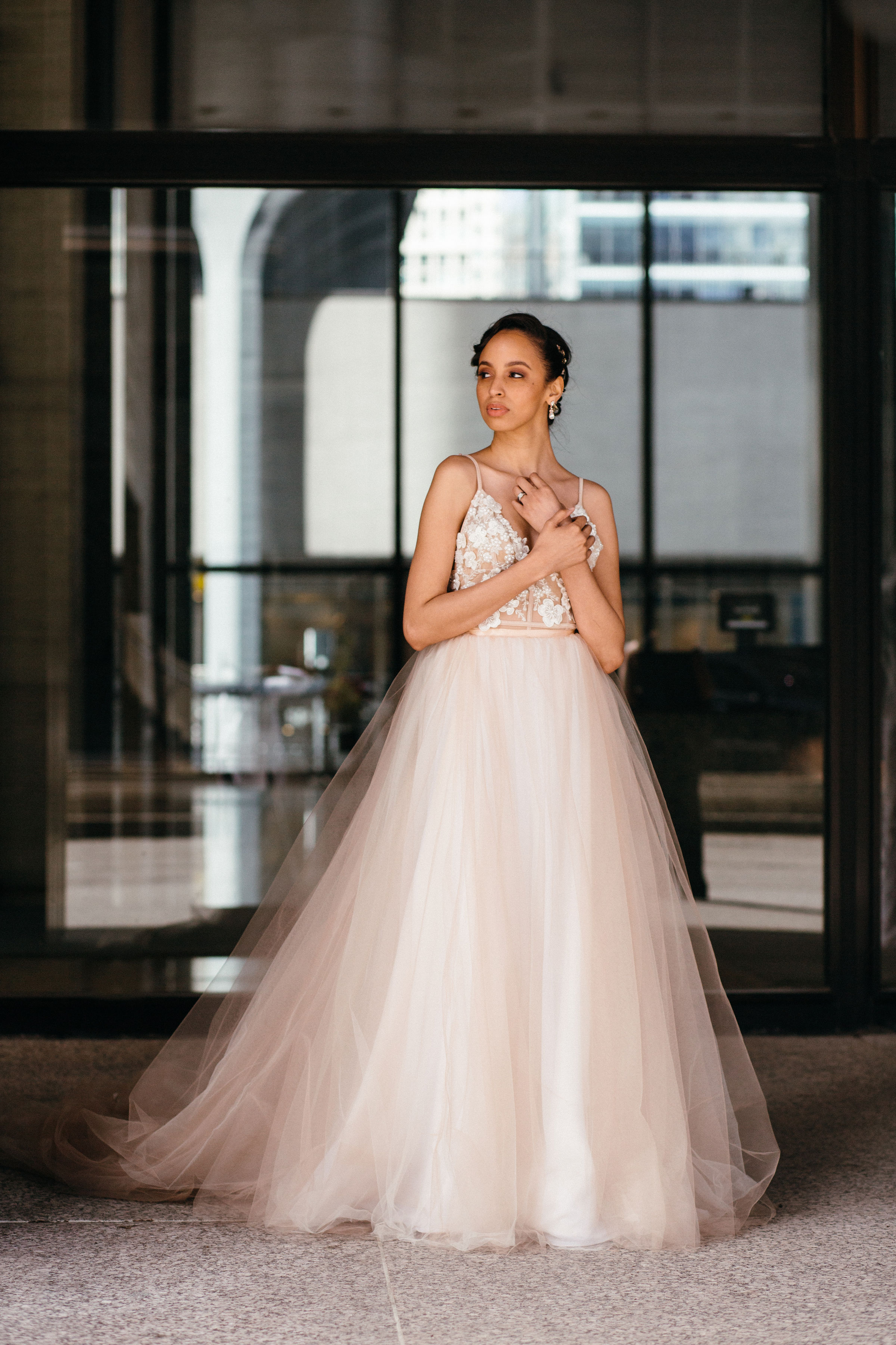 African American Bride in blush gown