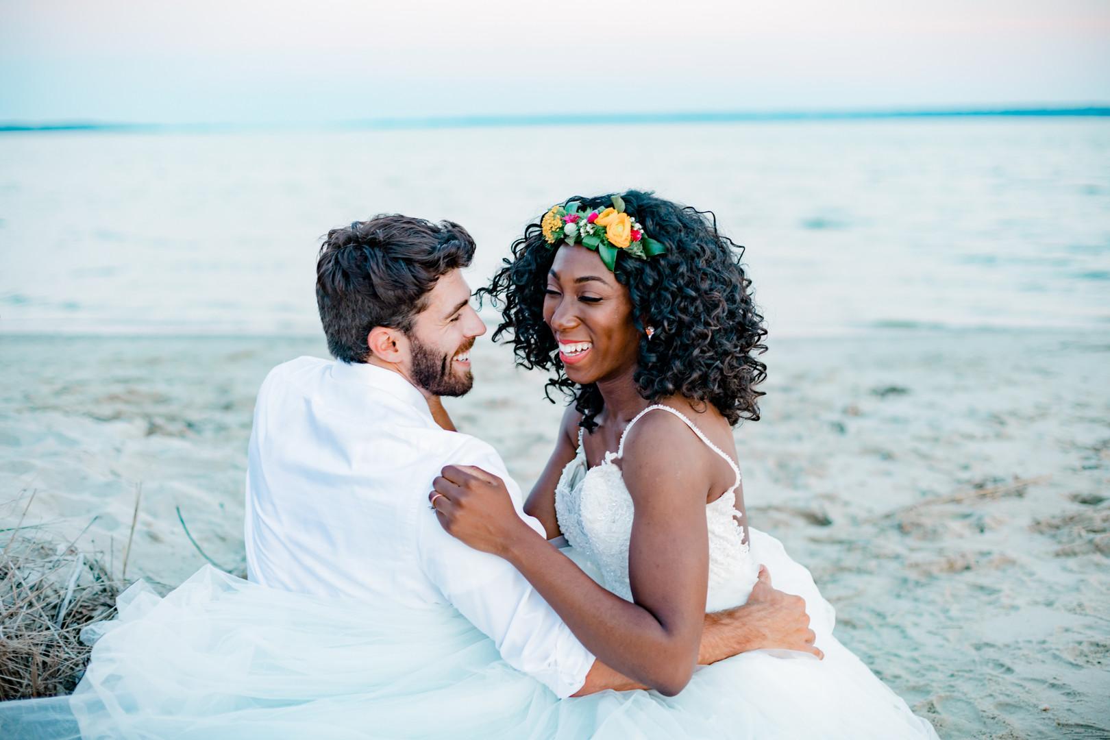 interracial couple on beach