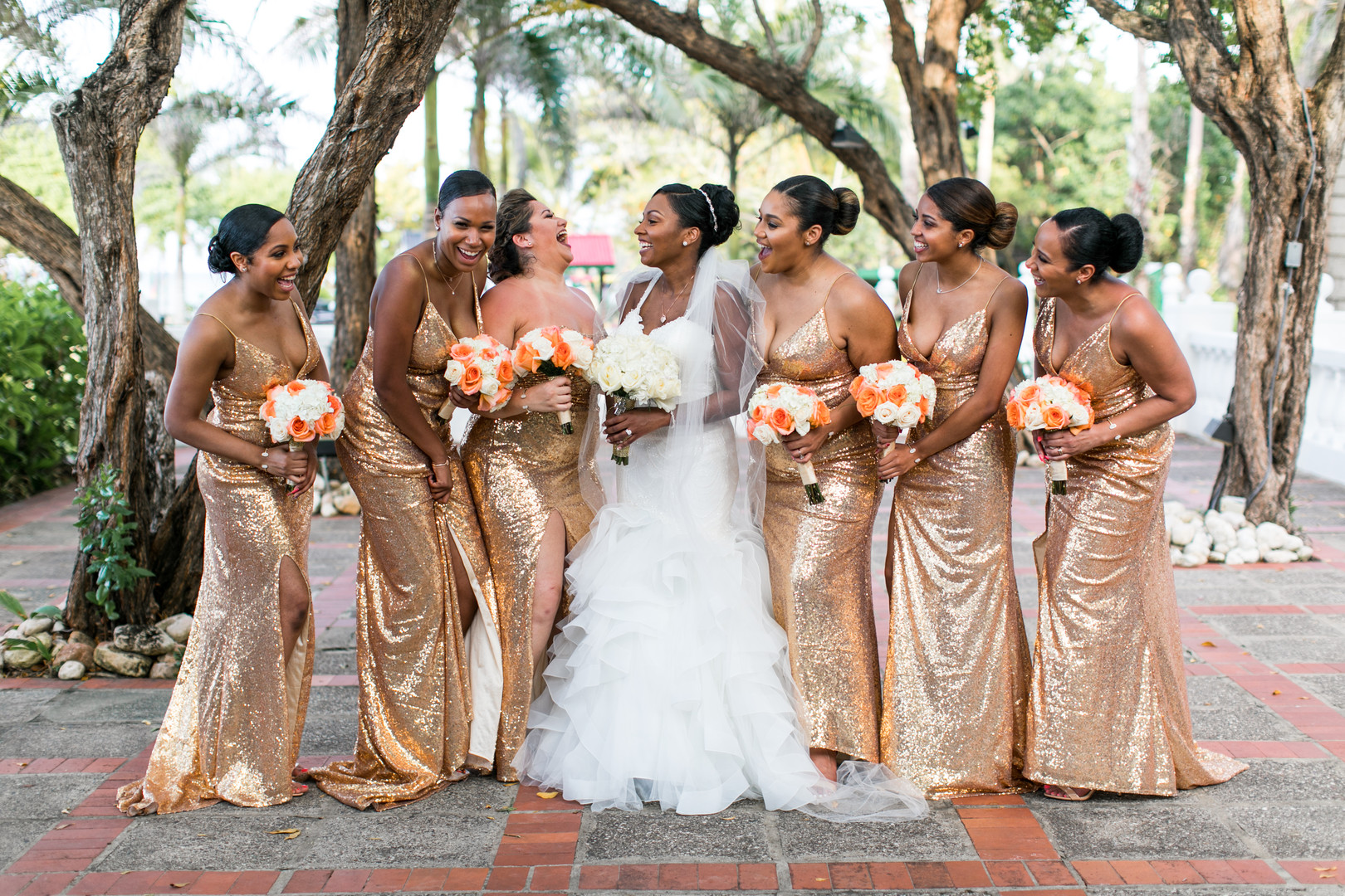 black bridal party in gold