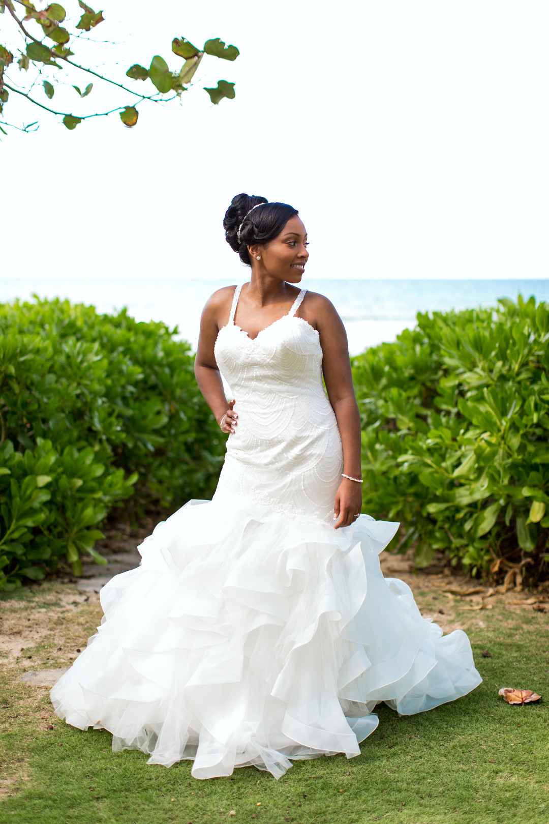 black bride on beach