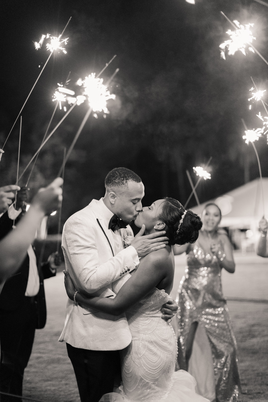black couple sparkler wedding exit