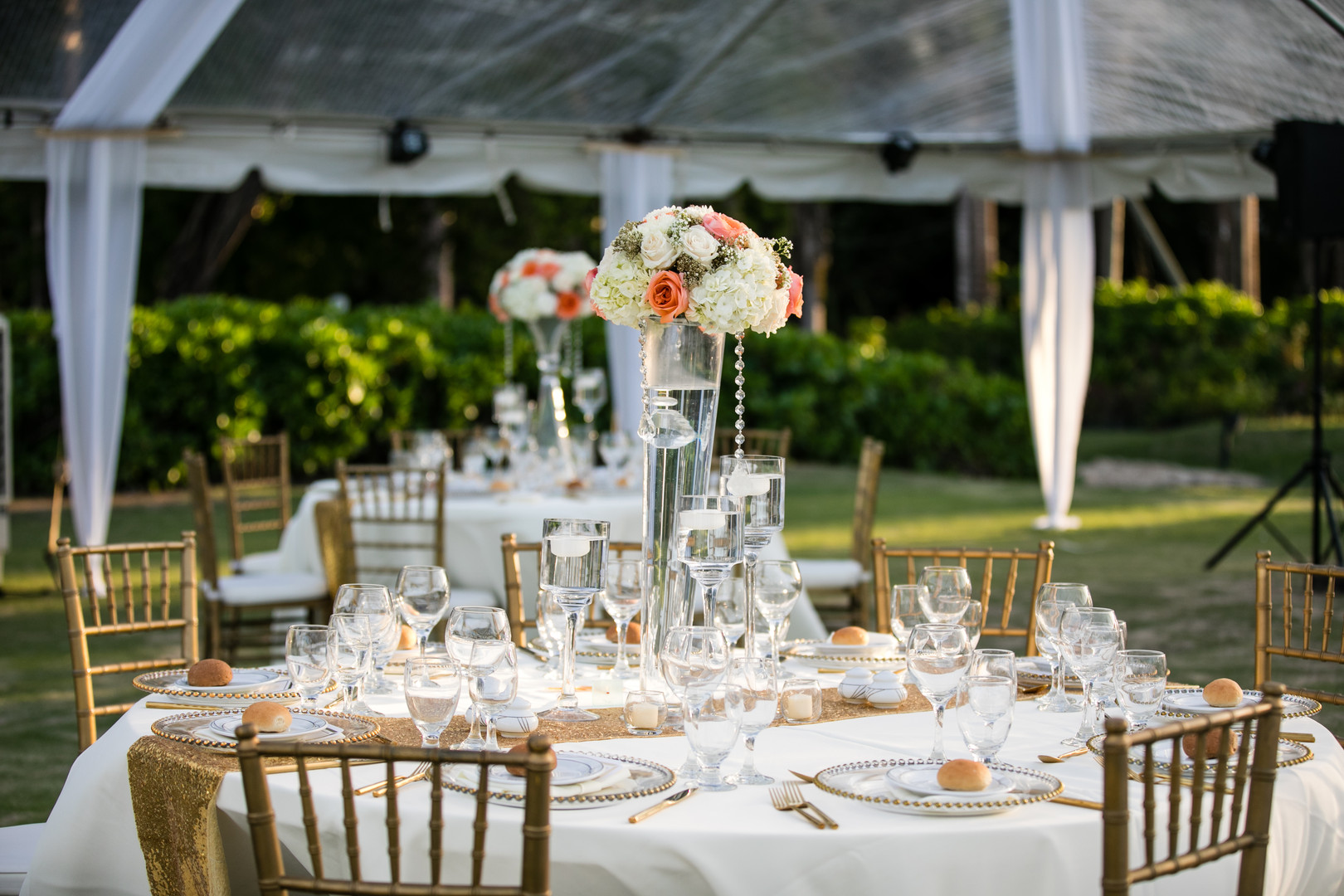 Table setting at garden wedding