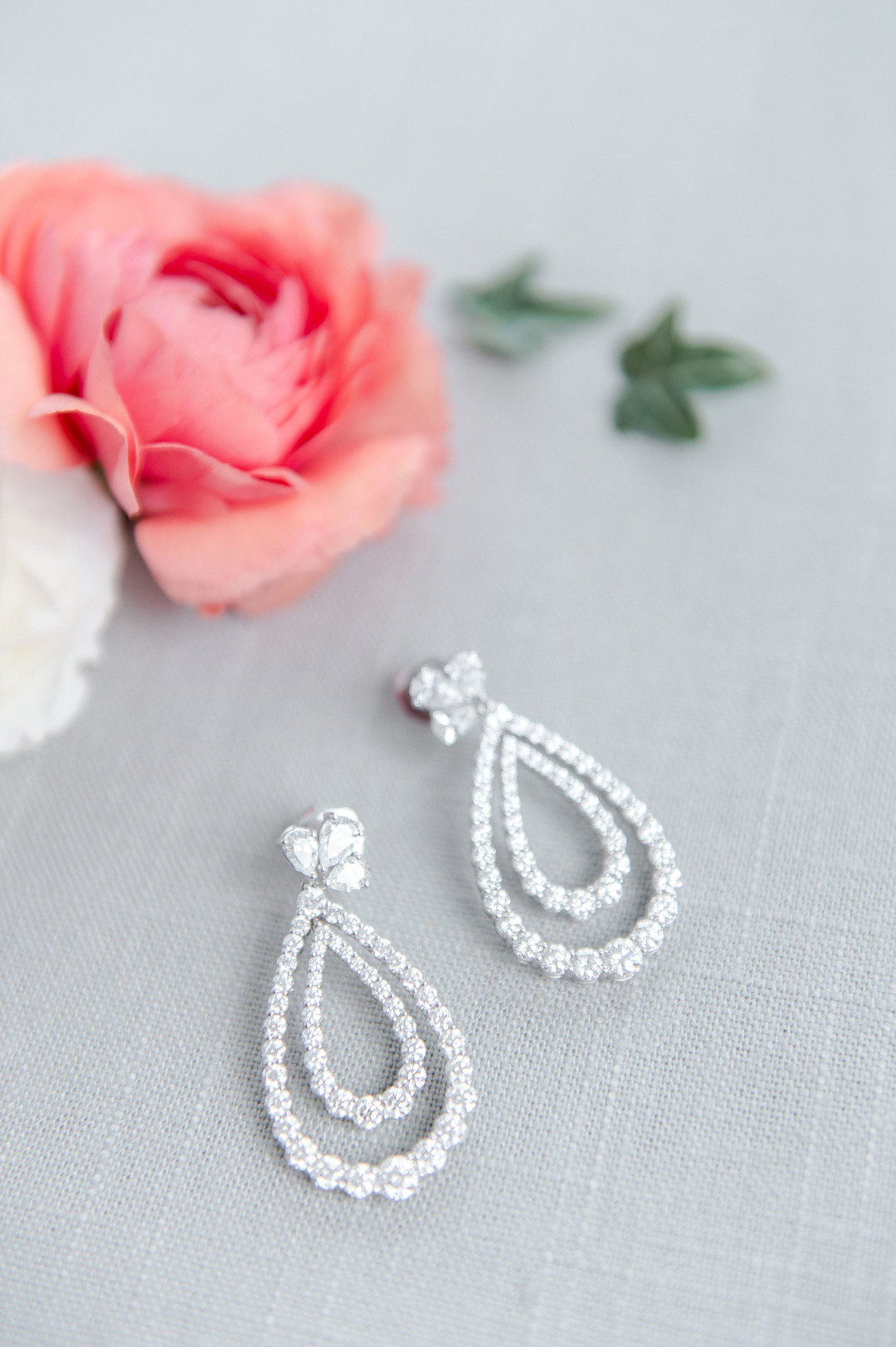 diamond wedding earrings with pink details