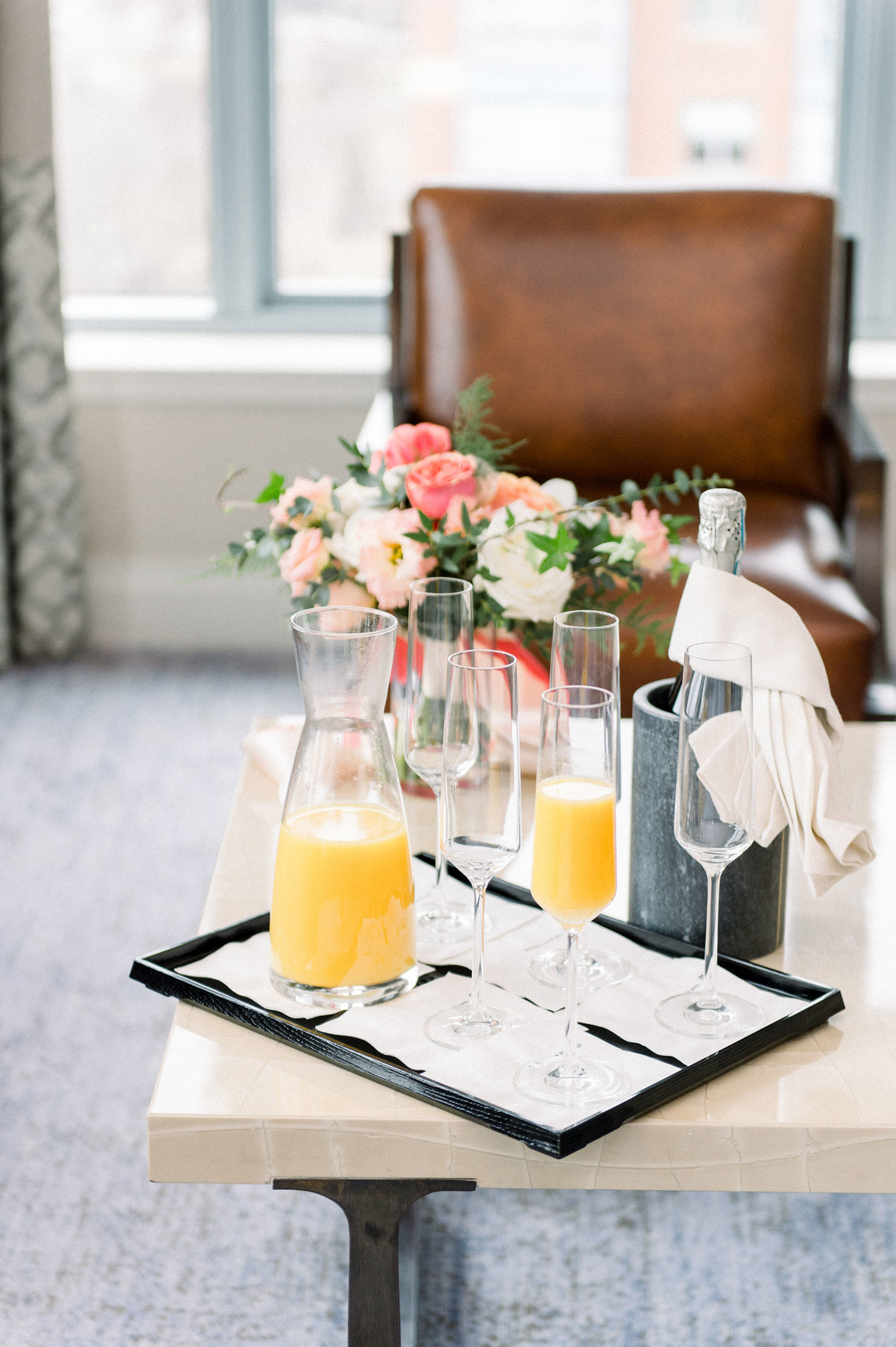 mimosa setup in bridal suite
