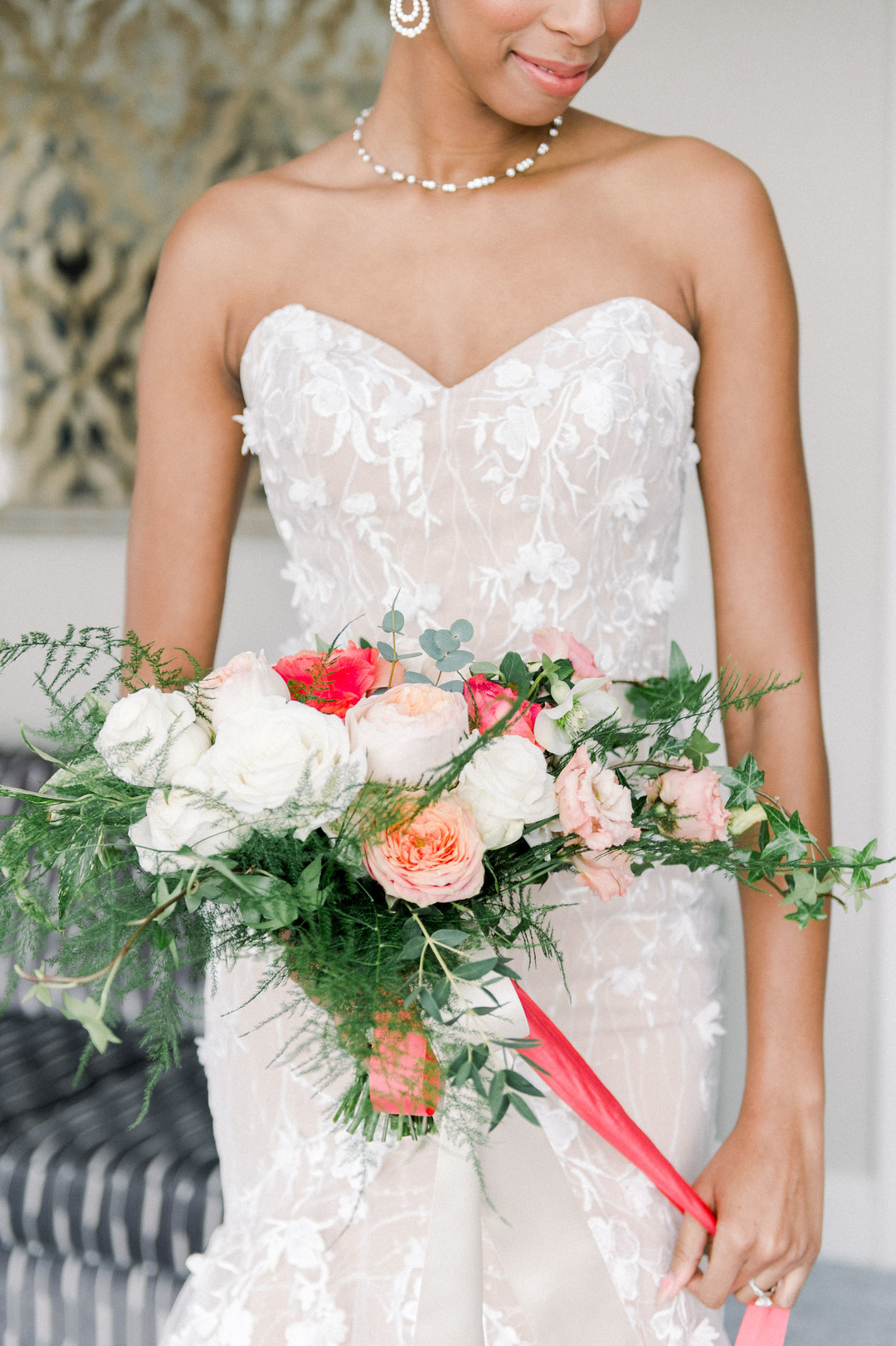 bride with beautiful bouquet