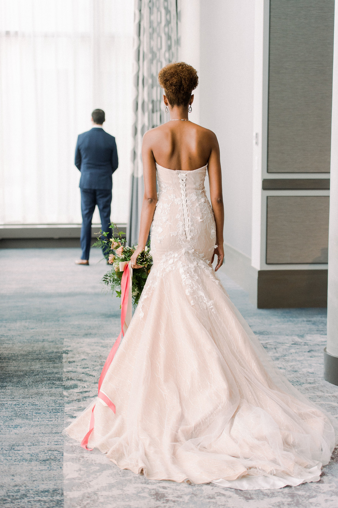 blush bridal gown black bride with natural hair
