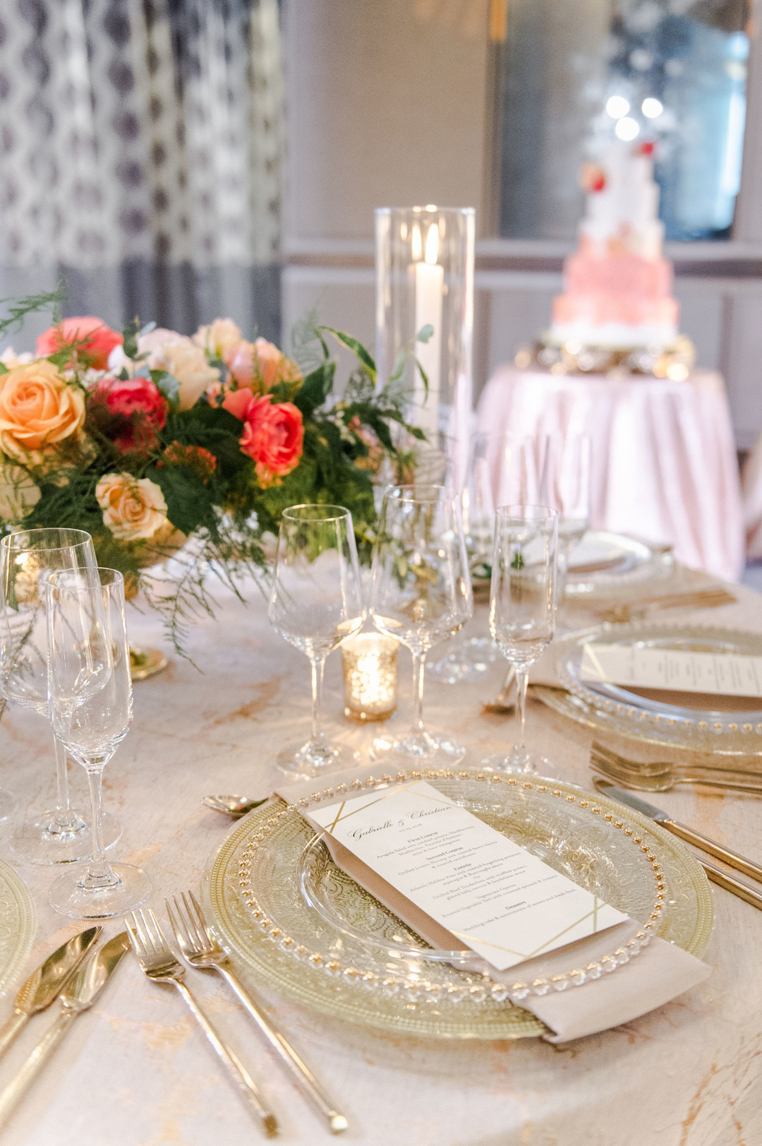 reception design blush and gold