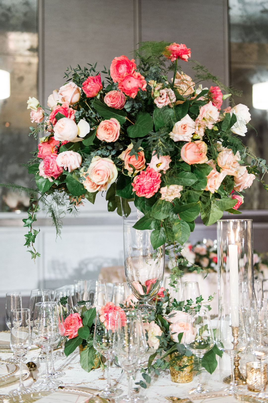 raised centerpiece blush, peach, and coral