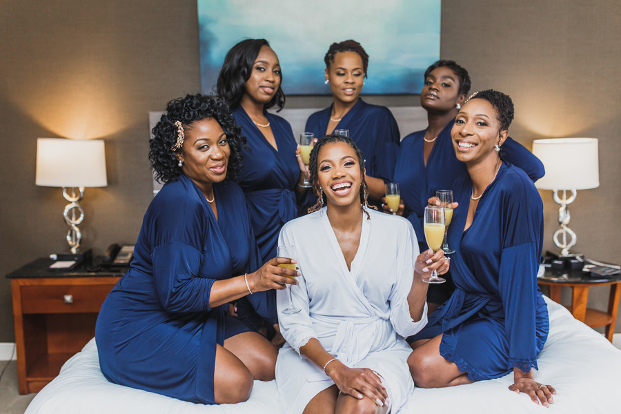 bridal party blue robes