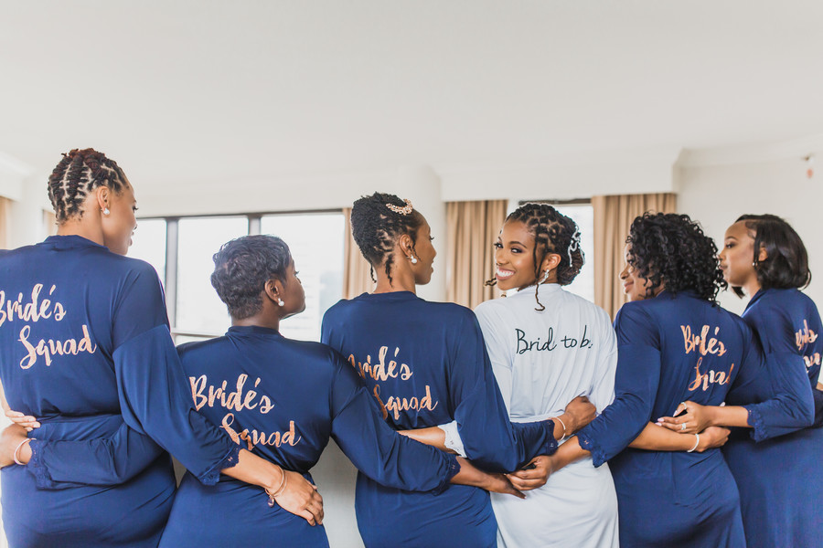 bridal party  bride's squad robes