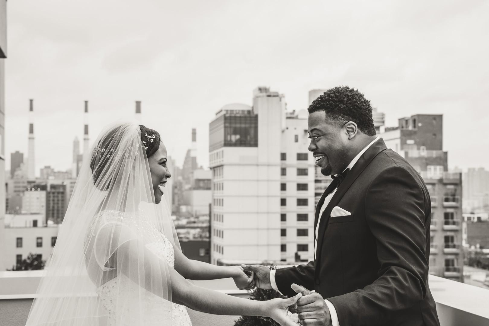 black couple first look joy