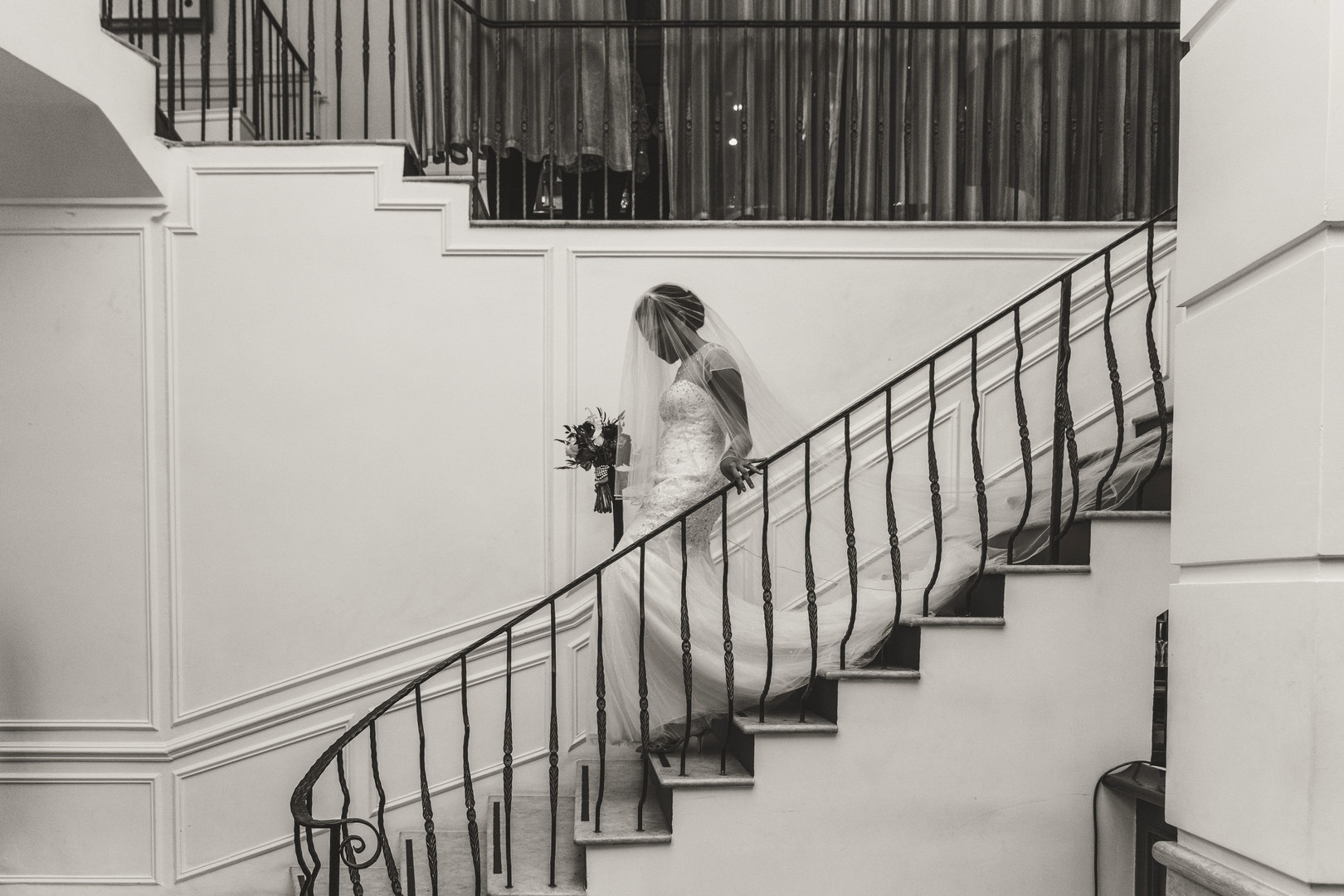 black bride coming down stairs