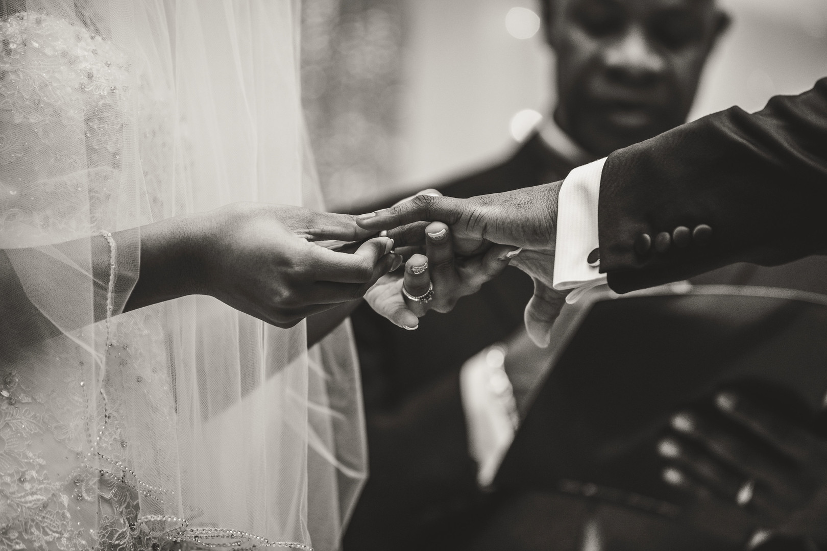 african american couple ring exchange