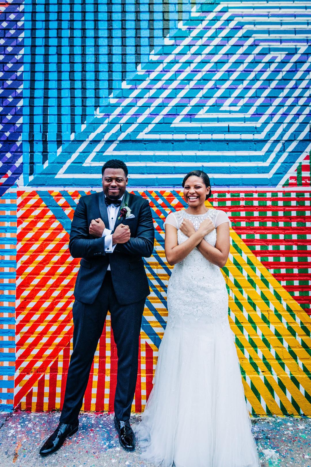 black wedding couple wakanda symbol