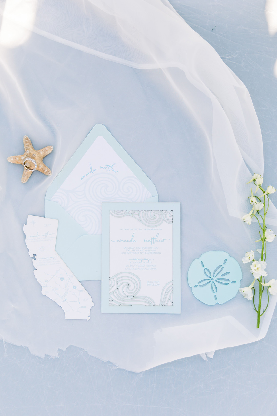 blue beach wedding invitations