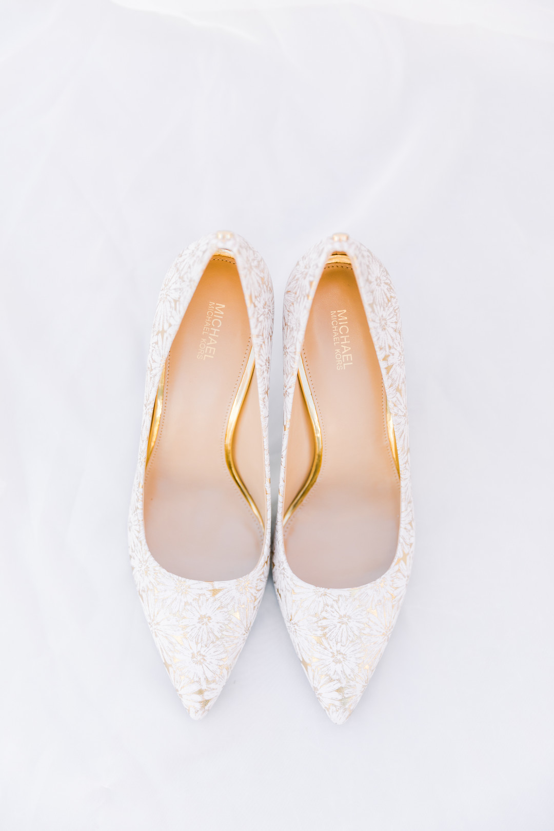 bridal shoes with beautiful gold detailing