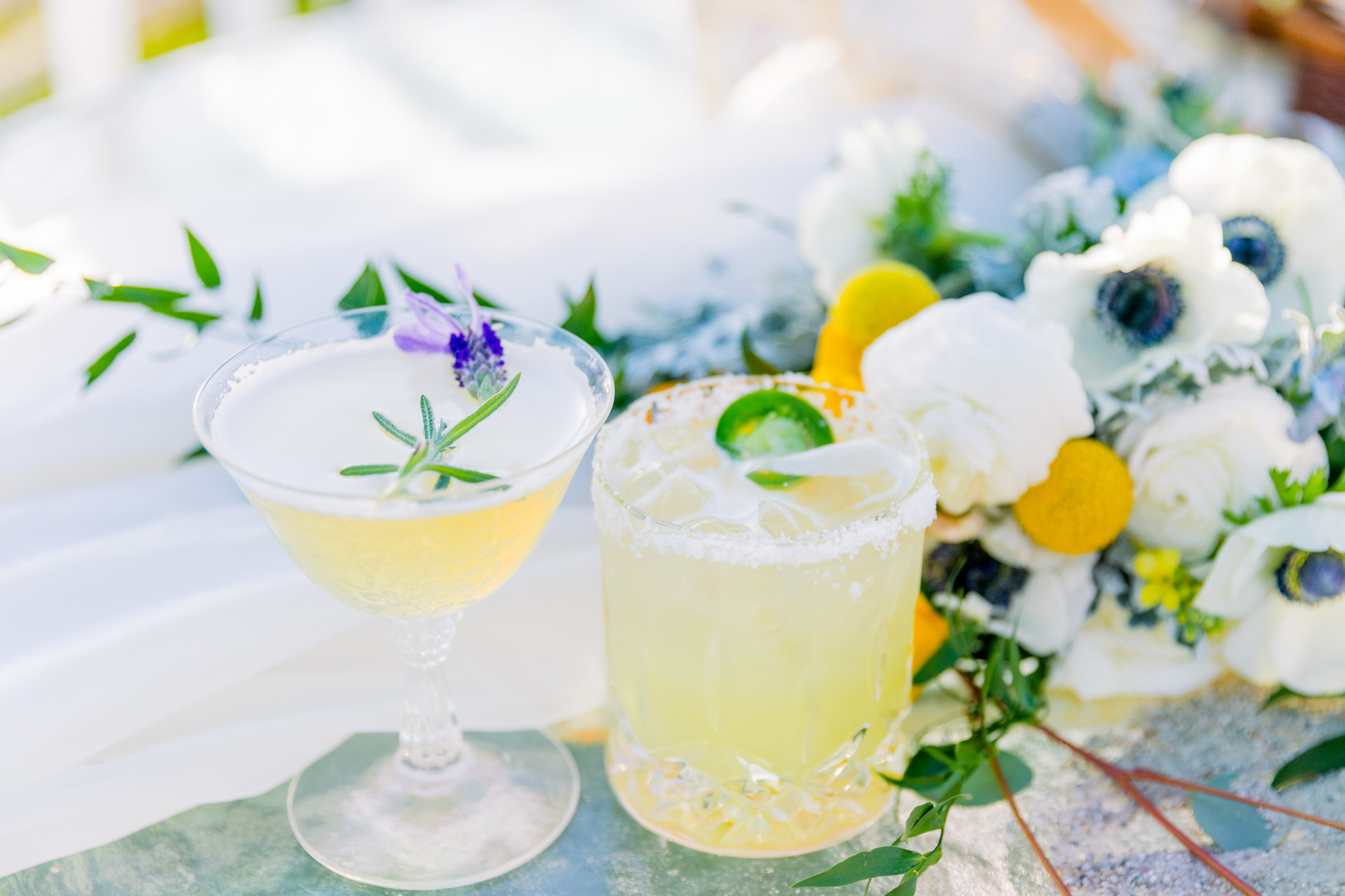 beach wedding drinks