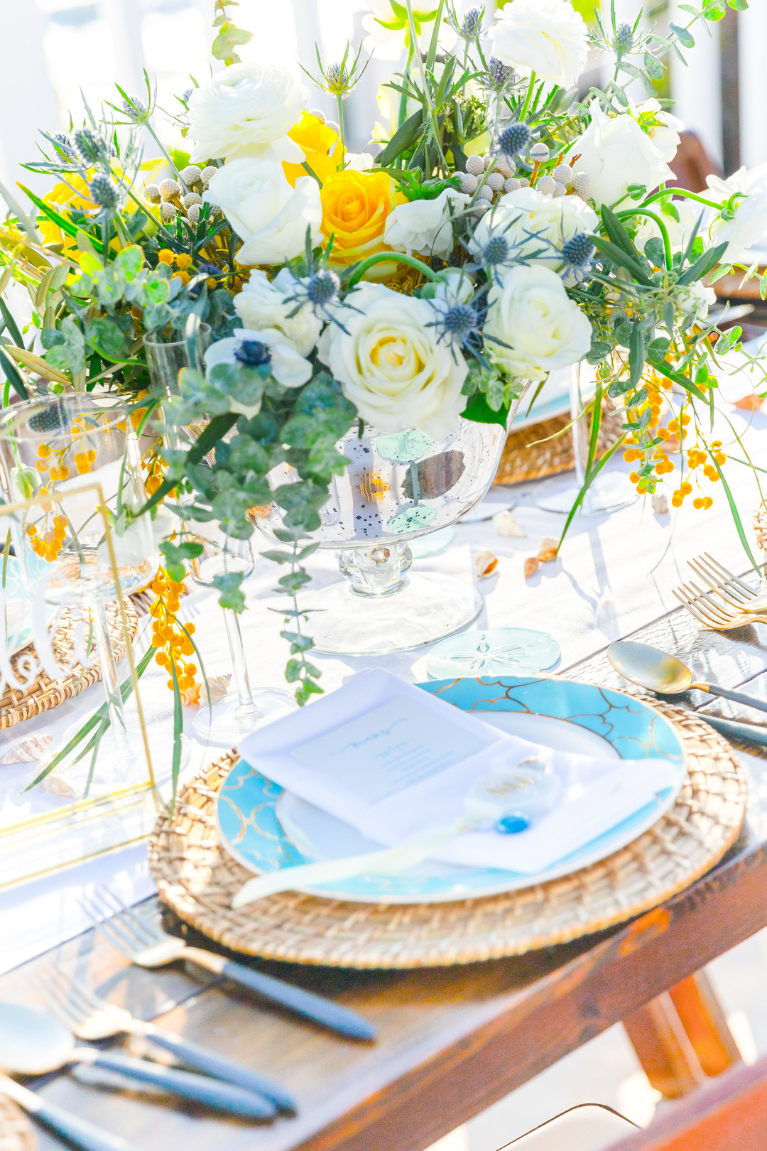 blue and yellow beach table setting