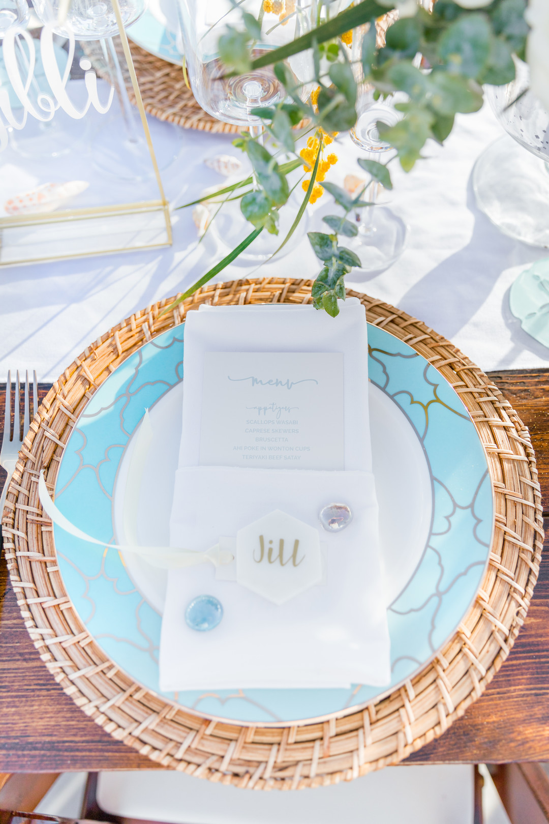 blue beach table setting