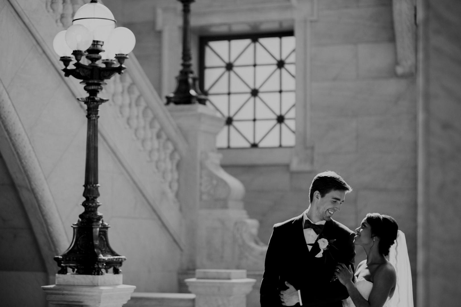 bride and groom in beautiful entryway