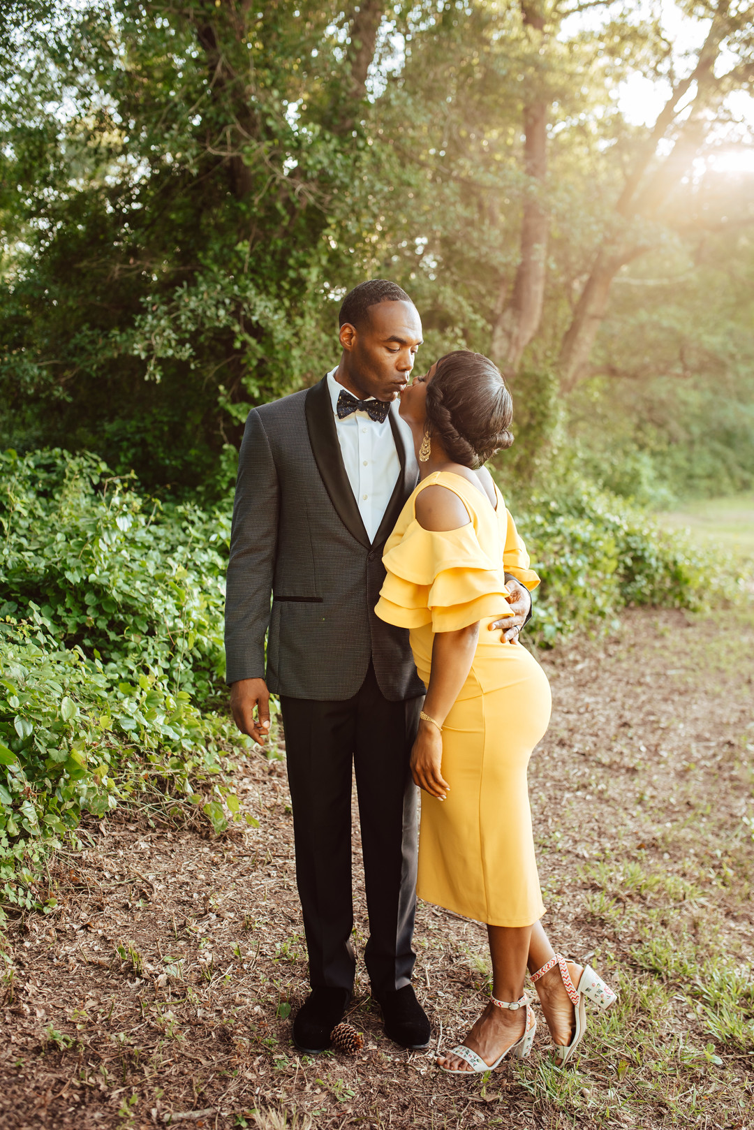black couple garden engagements