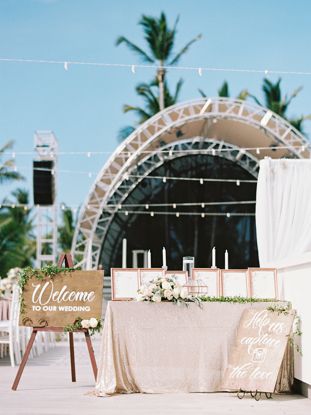 beach wedding gold table cloth