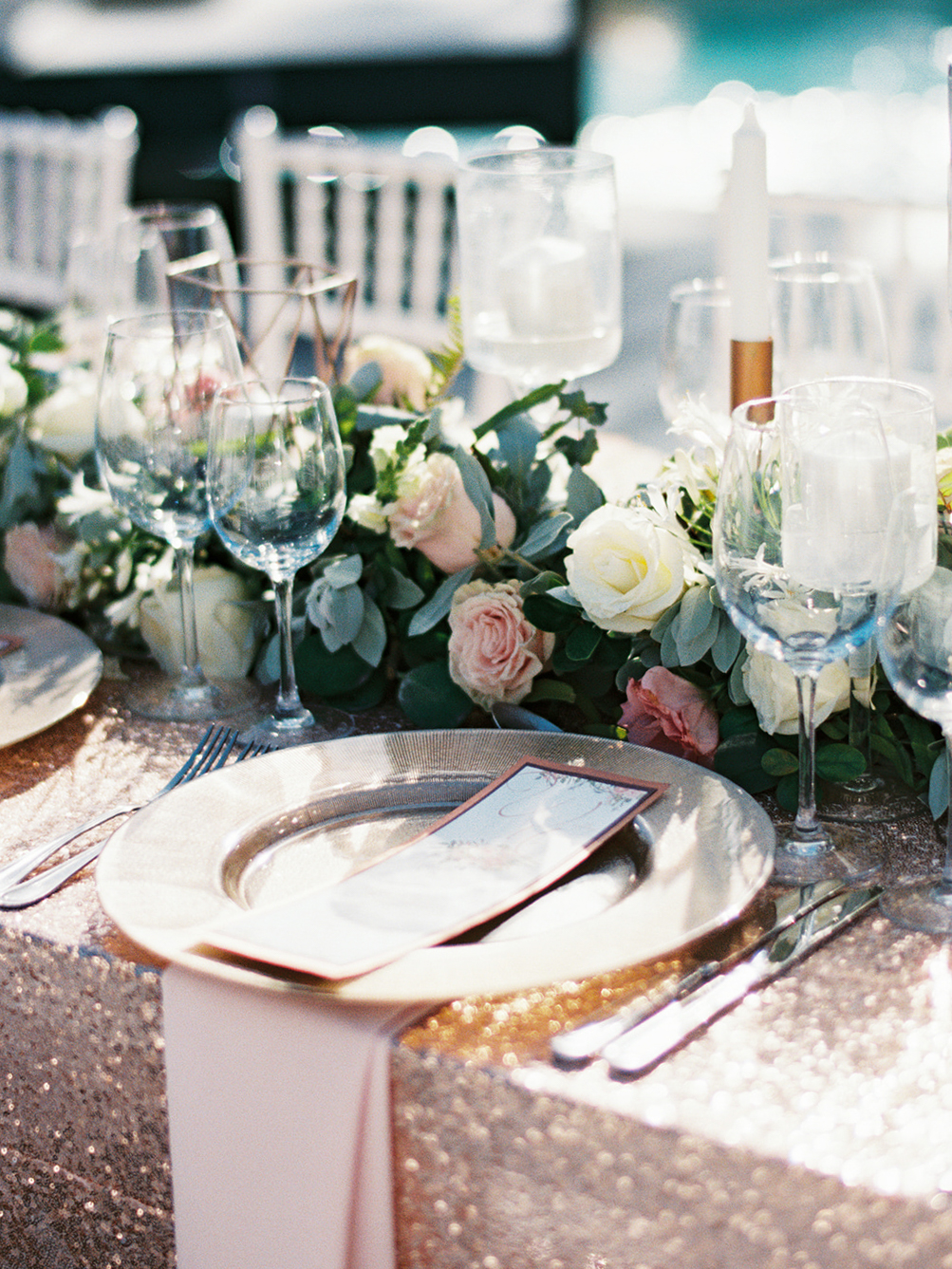 cream and pink wedding design with gold tablecloth