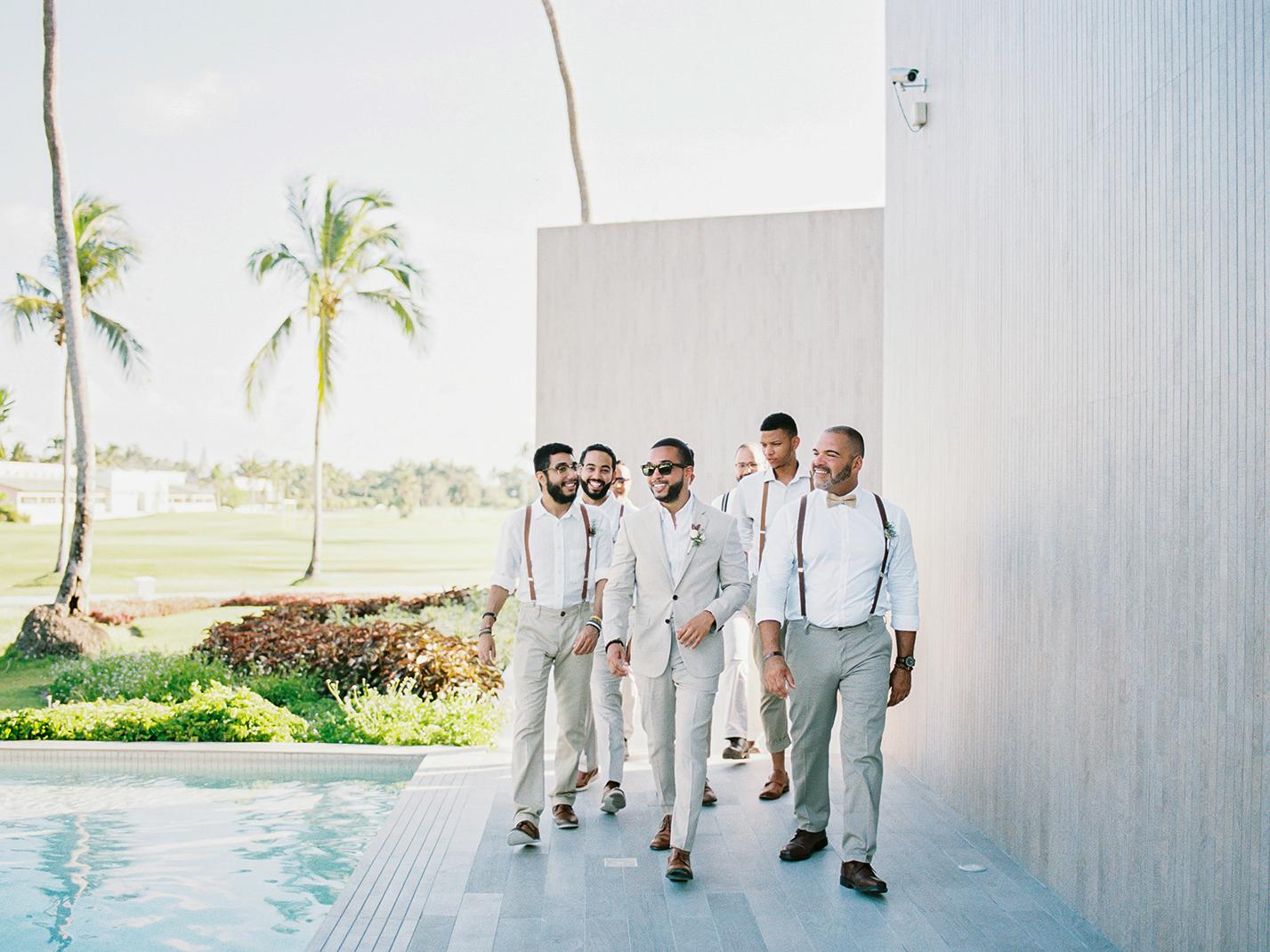 groom at beach wedding