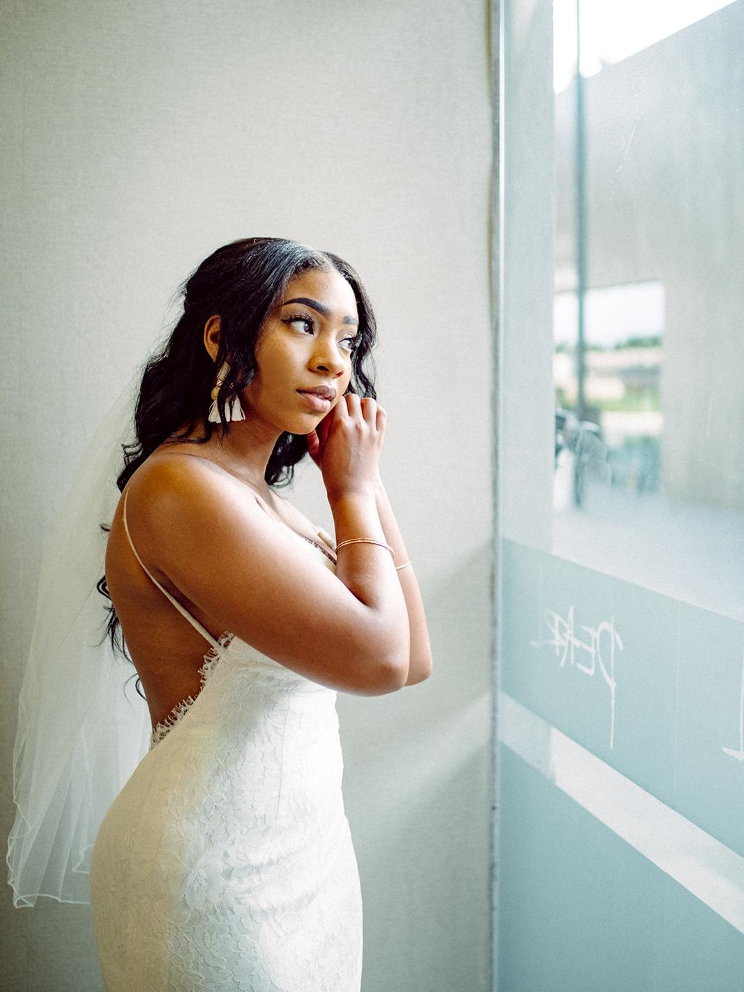 beach wedding bride getting ready