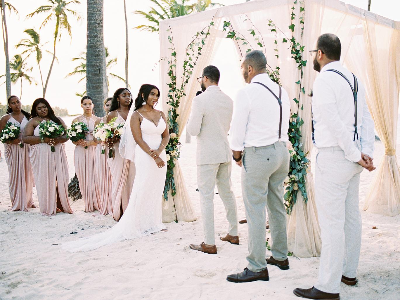 beach wedding bridal party blush dresses