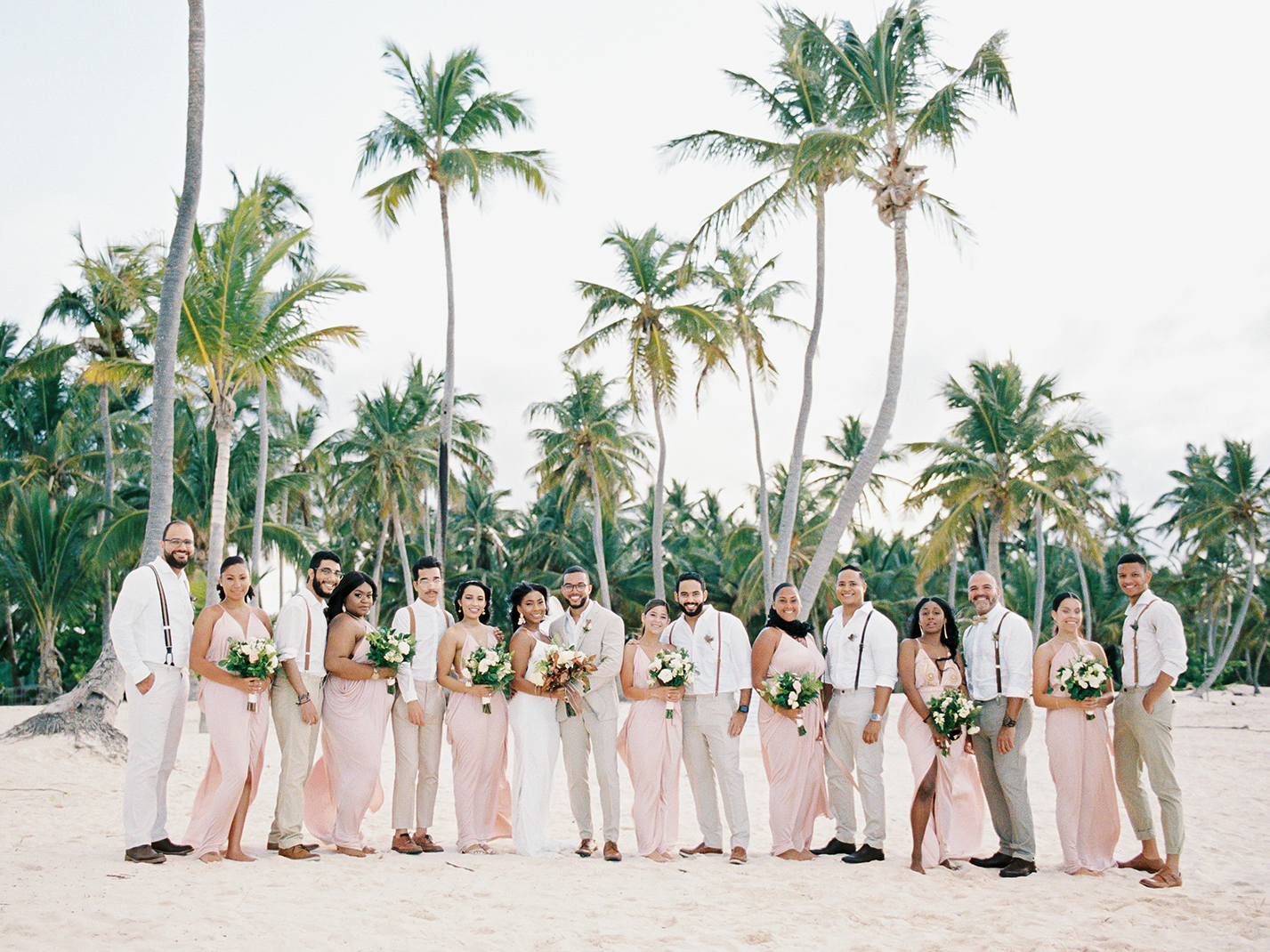 bridal party black wedding on beach