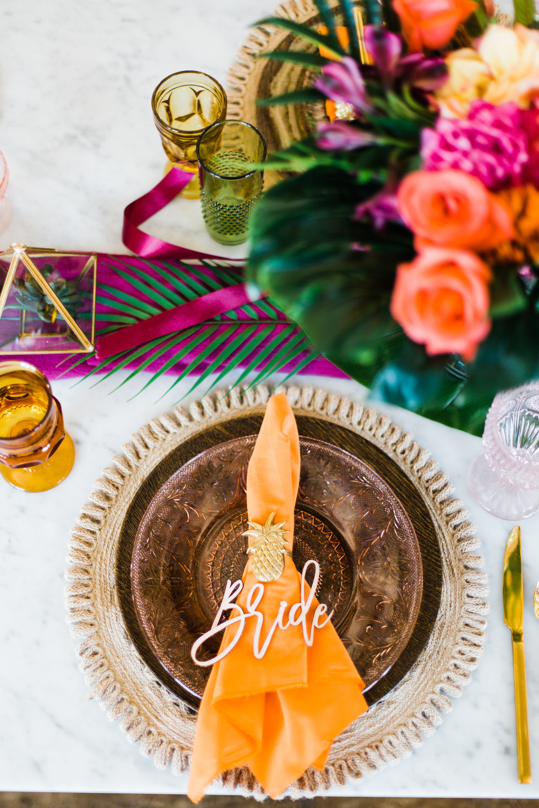 orange wedding place setting